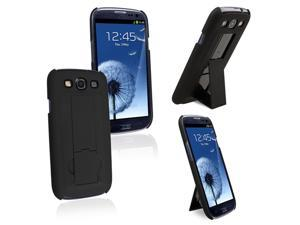 Insten Snap-on Rubber Coated Case Cover with Stand compatible with Samsung Galaxy SIII / S3, Black