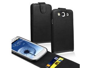 Insten Leather Flip Case Cover with Card Holder Compatibile with Samsung Galaxy SIII / S3, Black