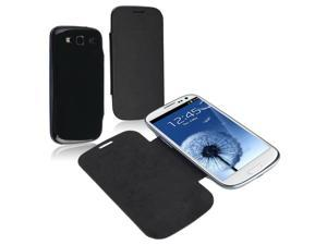 Insten Leather Case Cover with Battery Cover Compatible with Samsung Galaxy SIII / S3 , Black
