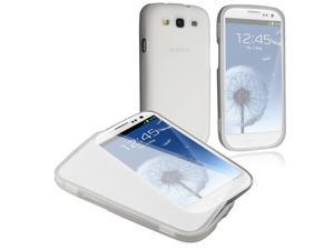 Insten TPU Rubber Skin Case Cover with Flap Compatible with Samsung Galaxy SIII / S3 , Clear white