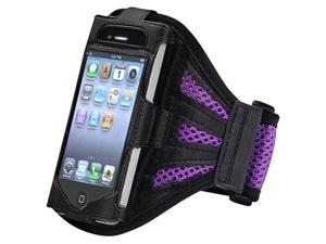 Insten Black Purple ArmBand Case Cover+Black Stylus w/ Dust Cap For iPhone 4 G 4S
