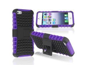 Insten Purple TPU/ Black Hard Hybrid Case Cover w/ Stand + Privacy LCD Screen Shield Compatible with Apple iPhone 5