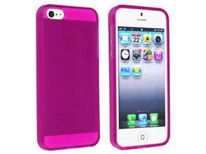 Insten TPU Rubber Skin Case Cover compatible with Apple iPhone 5 / 5S, Clear Hot Pink