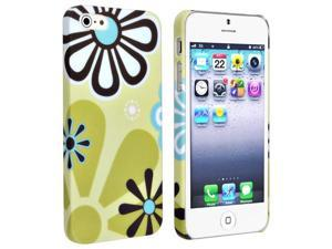 Insten Green / Flower Style 5 Snap-on Rubber Coated Case Cover + Privacy Screen Cover compatible with Apple iPhone 5