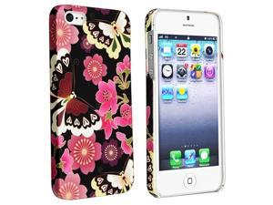 Insten Red Flower Butterfly Rear Style 51 Rubber Coated Case Cover + Reusable Screen Protector compatible with Apple  iPhone ...