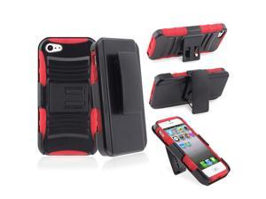 Insten Red Silicone/ Black Hard Hybrid Armor Holster Case Cover + Anti-Glare LCD Screen Protector Compatible with Apple iPhone ...