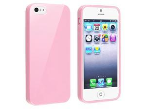 Insten Light Pink Jelly TPU Rubber Skin Cover + Front & Back Screen Protector Compatible With Apple iPhone 5 / 5s 818872