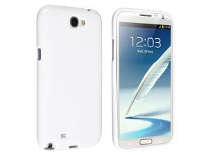 Insten White Jelly TPU Rubber Skin Case Cover + Anti-glare Screen Protector Compatible with Samsung Galaxy Note II Note 2 ...
