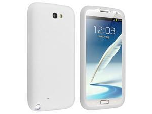 Insten Silicone Skin Case Cover-Solid White + Reusable Screen Protector Compatible with Samsung Galaxy Note II Note 2 N7100