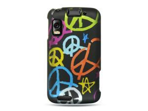 Motorola Atrix MB860 Black with Handmade Peace Sign Design Crystal Rubberized Case