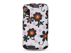 Motorola Atrix MB860 White with Black Daisy Design Crystal Rubberized Case