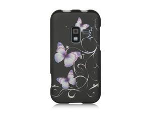 Luxmo Black Black with Purple Butterfly Design Case & Covers Samsung Galaxy S Attain 4G R920