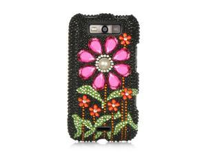 LG Connect 4G MS840 Black with Hot Pink Sun Flower Design Full Diamond Case