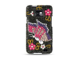 Luxmo Silver Silver with Pink Begonia Design Case & Covers Samsung Galaxy S II/Attain I777