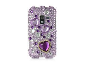 Samsung Galaxy S Attain 4G R920 Purple with Purple Heart Design Full Diamond Case