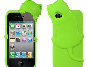 Apple iPhone 4S/iPhone 4 Green Cat Design High-End Skin Case