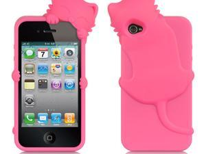 Apple iPhone 4S/iPhone 4 Hot Pink Cat Design High-End Skin Case
