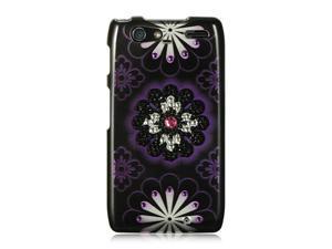 Luxmo Black Black with Purple Hawaii Flower Design Case & Covers Motorola Razr Maxx XT916