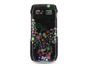 BlackBerry Pearl 9100 Black with Rainbow Garden Design Crystal Case