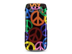 BlackBerry Pearl 9100 Black with Rainbow Peace Sign Design Crystal Case