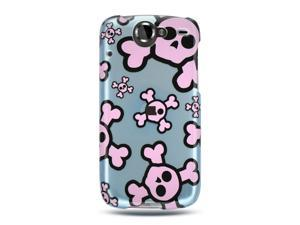 Google Nexus 1 Blue with Pink Skull Design Crystal Case