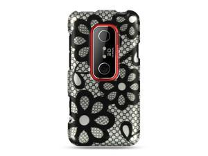 HTC EVO 3D Black Lace Design Crystal Case