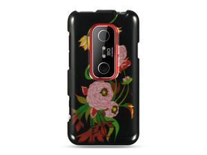 HTC EVO 3D Black Peony Design Crystal Case