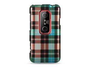 HTC EVO 3D Blue Checker Design Crystal Case