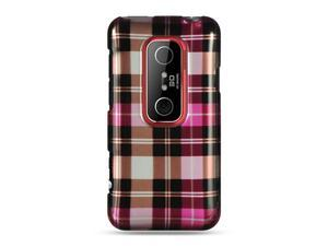 HTC EVO 3D Hot Pink Checker Design Crystal Case