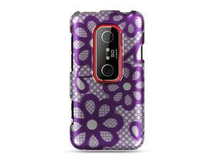 HTC EVO 3D Purple Lace Design Crystal Case