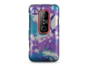 HTC EVO 3D Purple with Star and Peace Sign Design Crystal Case