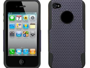 Apple iPhone 4S/iPhone 4 Black Skin with Purple Apex Design 2-in-1 Hybrid Case