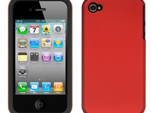 Apple iPhone 4S/iPhone 4 Black Skin with Red Rubber 2-in-1 Hybrid Case
