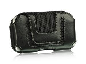 HTC Evo Shift/HTC HD2/Motorola Droid 2/Samsung Epic 4G/Samsung Galaxy S Velcro #2 Black Horizontal Leather Pouch