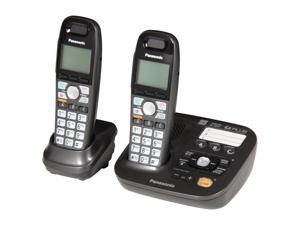 Panasonic KX-TG6592T 1.9 GHz Digital DECT 6.0 2X Handsets Cordless Phones Integrated Answering Machine