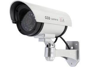 Rosewill Dummy / Fake Surveillance Security CCTV Camera Indoor Outdoor, with One LED Light & Warning Security Alert Sticker