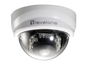 LevelOne H.264 2-Mega Pixel FCS-4101 10/100 Mbps P/T PoE Mini Dome Network Camera w/IR