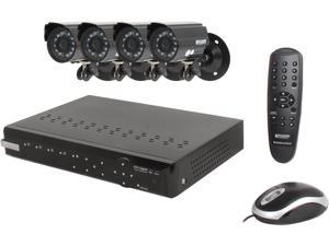 KGuard CA104-H02 4 Ch DVR + 4 CCD, 420 TVL, Night Vision, Weatherproof Bullet Cameras, Surveillance Kit Solution