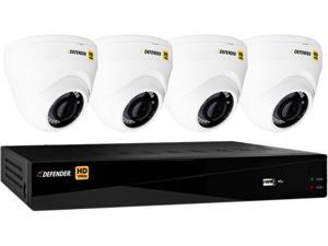Defender HD 1080p 8 Channel 1TB DVR Security System and 4 Dome Cameras with Mobile Viewing