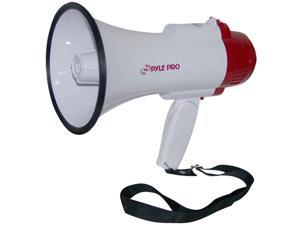 PYLE PMP35R White Professional Megaphone/Bullhorn with Siren and Voice Recorder
