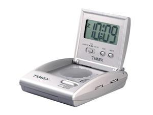 Timex T315S Travel Alarm Clock Radio (folds for portability) - Silver