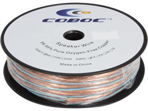 Coboc Model SPW-2C12-50-CL 50ft 12AWG Enhanced Loud Oxygen-Free Copper OFC Speaker Wire Cable