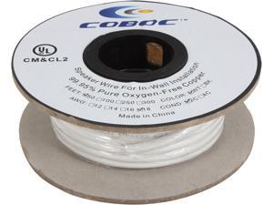 Coboc Model SPW-2C18-50-WH 50ft 18AWG CL2 Rated 2-Conductor Enhanced Loud Oxygen-Free Copper OFC Speaker Wire Cable (For In-Wall Insatllation)