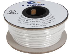 Coboc Model SPW-2C18-50-WH 100ft 18AWG CL2 Rated 2-Conductor Enhanced Loud Oxygen-Free Copper OFC Speaker Wire Cable (For In-Wall Insatllation)