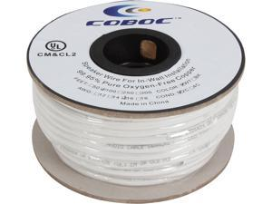 Coboc Model SPW-CL2-2C16-100-WH 100ft 16AWG CL2 Rated 2-Conductor Enhanced Loud Oxygen-Free Copper OFC Speaker Wire Cable (For In-Wall Installation)