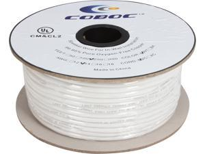 Coboc Model SPW-CL2-2C14-250-WH 250ft 14AWG CL2 Rated 2-Conductor Enhanced Loud Oxygen-Free Copper OFC Speaker Wire Cable (For In-Wall Installation)