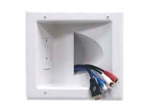 DataComm Recessed Low-Voltage Media Plate with Duplex Receptacle (45-0031-WH)