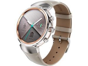 ASUS ZenWatch 3 Android Wear Smartwatch with Quick Charge & Silver Case, Beige Leather Strap (WI503Q-SL-BG)