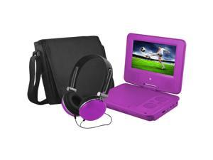Ematic EPD707PR 7-Inch Portable DVD Player with Matching Headphones and Bag (Purple)