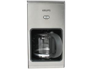 KRUPS KM1010 Stainless Steel and Graphite 10-cup Glass Carafe Coffee Machine